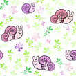Seamless pattern with little snails and butterflies