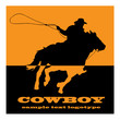 Logo cowboy on orange background # Vector