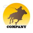 Logo cowboy on sunset # Vector