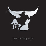 Logo cowboy on black background # Vector