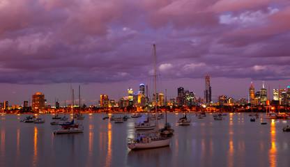 Melbourne Skyline St Kilda Harbour