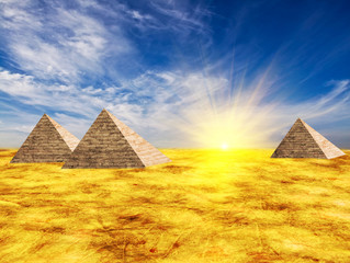 Egypt pyramid and sun beams