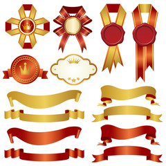 set of gold and red ribbon