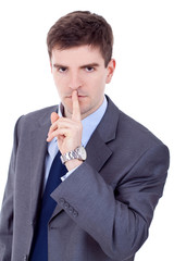 business man asks for calm and quiet