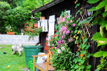 Garten Hütte Bank Terrasse Sommer