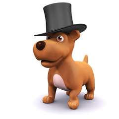 3d Dog performs in a top hat