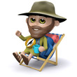 3d Explorer relaxes in his deck chair