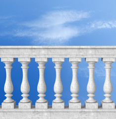 balustrade with pillar against blue sky