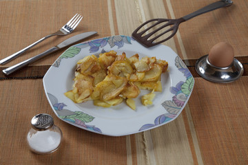 Teller mit Bratkartoffeln, Ei, Salzstreuer
