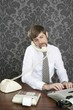 retro mustache multitask businessman office desk