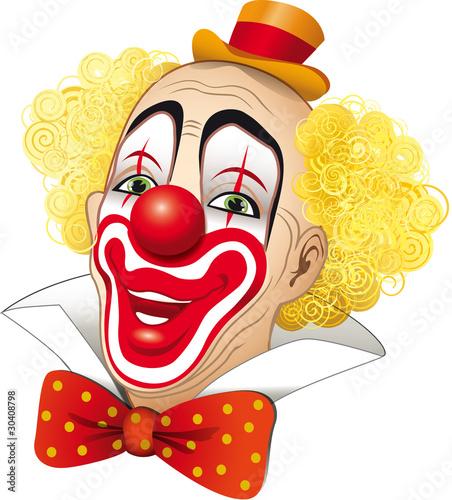 Clown con i capelli gialli su fondo bianco