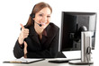 customer service operator girl in headset, thumb up