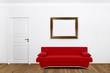 Rote Couch im Wohnzimmer