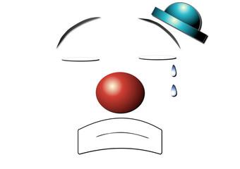 clown pleure et chapeau