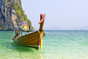 Tropical beach, traditional long tail boats, Andaman Sea, Thaila