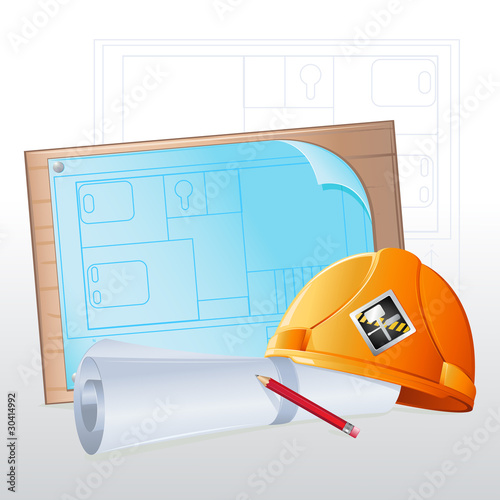 Hard Hat with Blue Print