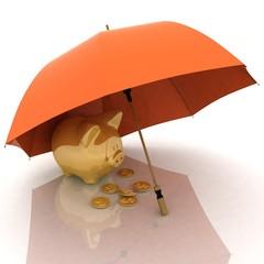 umbrella and piggy-bank.