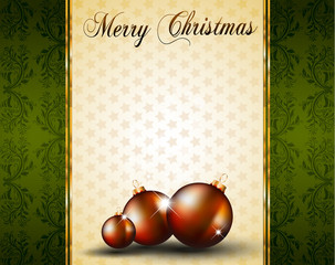 Vintage Christmas Baubles Background