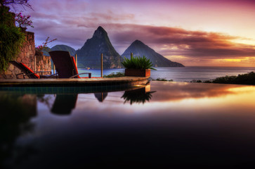 "Infinity Pool with ""Gros & Petit Piton"" at Saint Lucia"