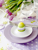 Place setting for Easter in violet color