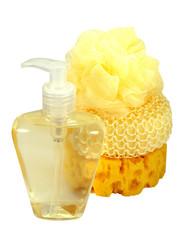 isolated bath sponge and liquid soap