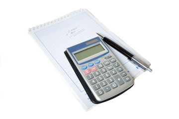 Calculator and pen in the background scheduler
