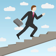 Businessman stepping up the stairs. Vector illustration