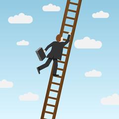 Businessman climbing ladder. Vector illustration