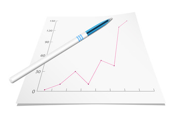 Graph with pen. Vector illustration