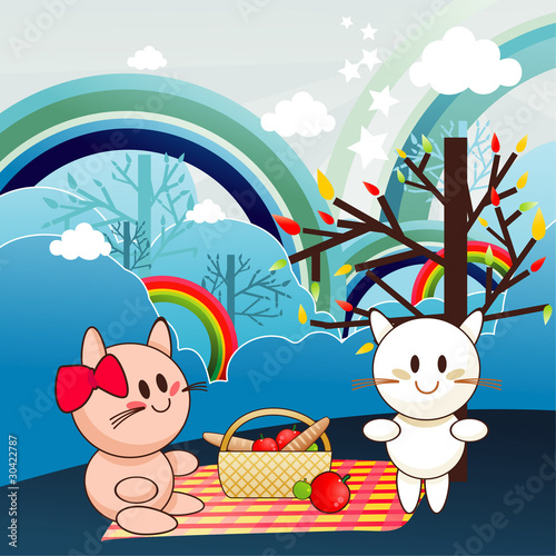 Plexiglas Katten animals picnic vector