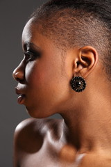 Profile portrait of beautiful black african woman
