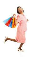 Happy Shopper Skipping
