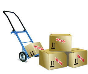 Hand Truck and boxes.