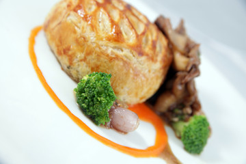 Fillet mignon and oyster mushroom fricassee