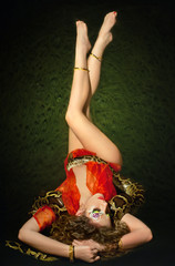 Young beautiful woman whith snake