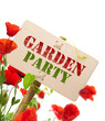 garden party sign - green invitation card