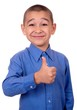 happy smiling boy giving thumbs up gesture, isolated