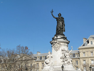 Statue de Marianne, Place de la République, Paris, France.