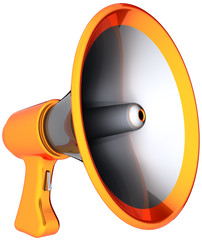 Megaphone announcement communication. Shiny loudspeaker