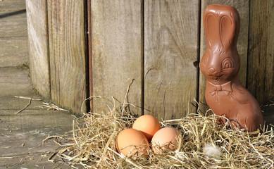 lapin en chocolat et oeufs de Pâques