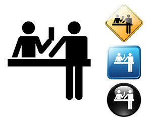 Ticket purchase pictogram and signs
