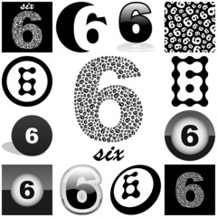 SIX. Vector great collection.