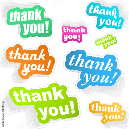 THANK YOU. Sticker set. Vector illustration.