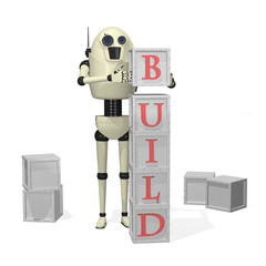 Robot with building blocks