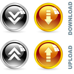 Download and upload buttons. Vector illustration.