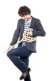 jeune adolescent imaginant une guitare poster