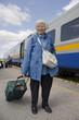 Senior woman train travel