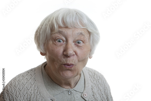 Senior woman studio portrait Happy