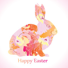 Easter Rabbit with flowers