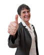 mature smiling businesswoman with thumb up isolated
